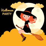 Little red haired witch flying on a broom Stock Photography