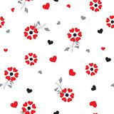 Little red heart create a beautiful flowers blowing in the wind seamless pattern in vector design for fashion,wallpaper,web,fabric. And all prints on white vector illustration