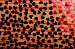 Little red hearts. On wood Royalty Free Stock Photo