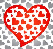 Red heart with monochrome background Royalty Free Stock Photo