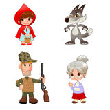 Little Red Hiding Hood's characters. Funny cartoon and vector isolated items Royalty Free Stock Photography