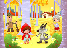 Little Red Hiding Hood scene. Funny cartoon and vector illustration Royalty Free Stock Image