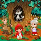 Little Red Hiding Hood scene. royalty free stock photo