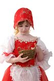 Little red hood. Little girl in dress of red hood with small basket Stock Images