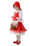 Little red hood. Little girl in dress of red hood with small basket Royalty Free Stock Images