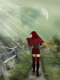 Little red Hood. In the forest with basket royalty free illustration