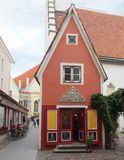 The Little Red House in Tallinn Stock Image