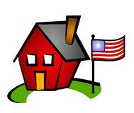 Little Red House and US Flag vector illustration