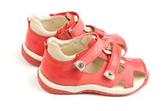 Little red kids shoes. Stock Images