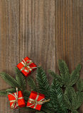 Little red presents on wood background christmas border Stock Photo