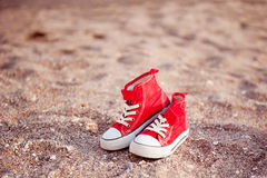 Little red retro sneakers Stock Photo