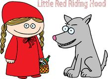 Little red riding hood. And bad wolf Royalty Free Stock Photo