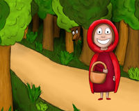Little Red Riding Hood. Hand-drawn illustration of a famous scene from Little Red Riding Hood vector illustration