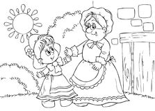 Little Red Riding Hood. Black-and-white illustration (coloring page): Little Red Riding Hood and her grandmother meet Royalty Free Stock Image