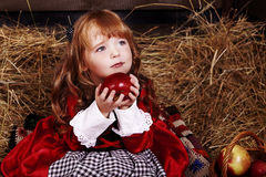 Little Red Riding Hood. With apple Stock Images