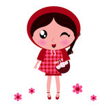 Little Red riding hood. Cute cartoon Red riding hood. Vector illustration Royalty Free Stock Image