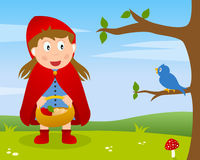 Little Red Riding Hood. Fairy tale scene: Little Red Riding Hood or Little Red Cap with food basket in a country landscape. Eps file available Stock Images