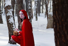 Little Red Riding Hood. In snow Royalty Free Stock Photo