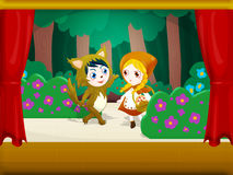 Little red riding hood 3. The wolf recommended to Little Red Riding Hood to collect some flowers for grandma Royalty Free Stock Photo