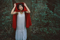 Little red riding hood alone Royalty Free Stock Image