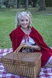 Little red riding hood with a basket Stock Image