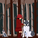 Little Red Riding Hood befriends Royalty Free Stock Photography
