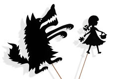Little Red Riding Hood and Big Bad Wolf shadow puppets Stock Photo