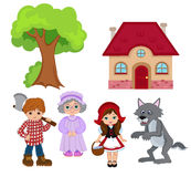 Little red riding hood. Big set for education. Royalty Free Stock Photography