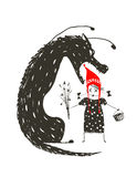 Little Red Riding Hood and Black Scary Wolf. Illustration for the fairy tale, scary wolf and a child. Sketchy artistic drawing. Vector illustration Royalty Free Stock Photo
