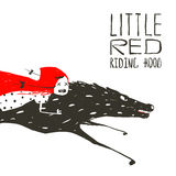 Little Red Riding Hood on Black Wolf Running Stock Photos