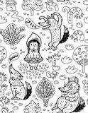 Little Red Riding Hood cartoon background in outline. Royalty Free Stock Photo