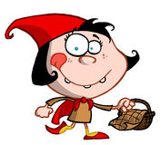 Little Red Riding Hood Cartoon Girl Carrying A Bas. Ket Royalty Free Stock Photo