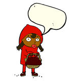 Little red riding hood cartoon with speech bubble Stock Images