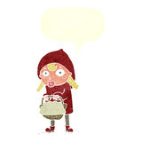 Little red riding hood cartoon with speech bubble Royalty Free Stock Photo