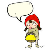 little red riding hood cartoon with speech bubble Royalty Free Stock Photos