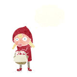 Little red riding hood cartoon with thought bubble Royalty Free Stock Photography