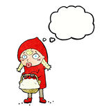 Little red riding hood cartoon with thought bubble Royalty Free Stock Photo