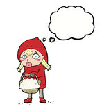 little red riding hood cartoon with thought bubble Stock Images