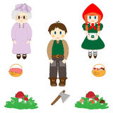 Little Red Riding Hood characters set Royalty Free Stock Photography
