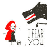 Little Red Riding Hood Crying and Black Scary Royalty Free Stock Images