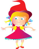 Little Red riding hood. A cute girl with blue eyes and blond hair. A red hood and blue ribbons, she's dressed as little red riding hood and is tip toeing along a Stock Image