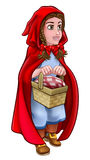 Little Red Riding Hood Fairy Tale Character. An illustration of little red riding hood cartoon character from the childrens fairy tale holding her basket Royalty Free Stock Photo
