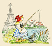 Little Red Riding Hood fishing. Comic illustration of Little Red Riding Hood fishing Royalty Free Stock Photography