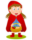 Little Red Riding Hood with Food Basket. Little Red Riding Hood or Little Red Cap holding a food basket, isolated on white background. Eps file available Stock Image