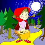 Little red riding hood in the forest. Funny illustration of little red riding hood. Perfect for children pics, kindergarden, banners, web based designs or even t royalty free illustration