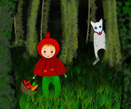 The Little Red Riding Hood in forest Royalty Free Stock Photo