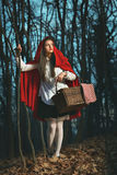 Little Red riding hood in the forest at night. Dark portrait of Little Red riding hood in the forest at night Royalty Free Stock Photos
