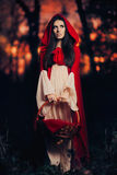 Little Red Riding Hood in the Forest Stock Image