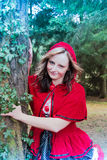 Little Red Riding Hood in the forest Royalty Free Stock Image