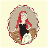 Little Red Riding Hood. In a frame royalty free illustration